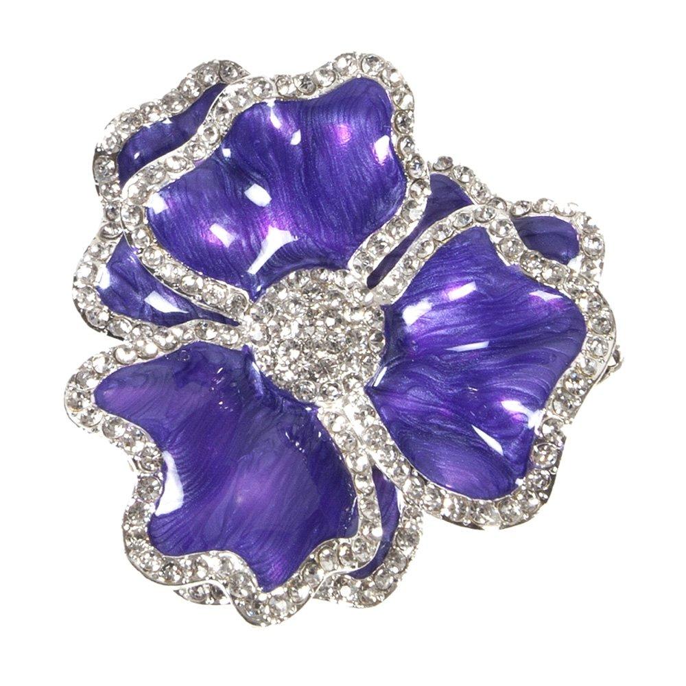 Dark purple flower napkin ring with crystal border mightylinksfo